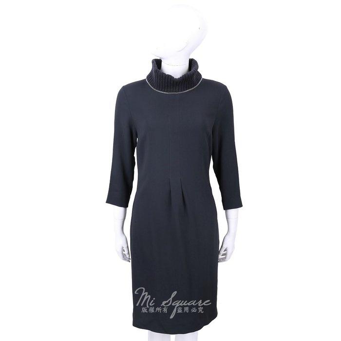 米蘭廣場 FABIANA FILIPPI 美麗諾羊毛夜藍色拼接高領七分袖洋裝 1810043-34