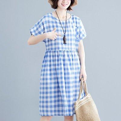 小清新寬松格子娃娃裙口袋文藝復古A字裙收腰遮肚子大碼女連衣裙