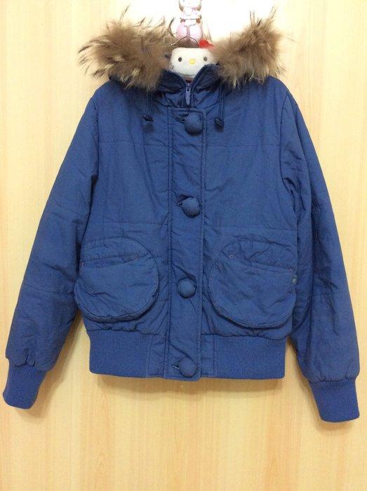 a la sha 寶藍色立體造型口袋+造型扣子+可愛毛毛帽/鋪棉保暖外套《S號》