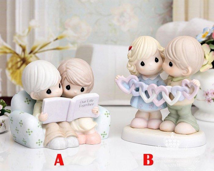【吉事達】美國 Precious Moments 水滴娃娃 2007年愛的每一天 情侶陶瓷娃娃 情人生日禮品