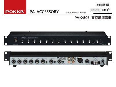 高傳真音響【POKKA PMX-805】 麥克風混音器│公共廣播專用 工廠 公司 機關單位