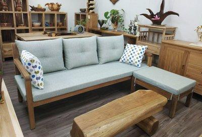 【肯萊柚木傢俱館】獨特風 100%老柚木 全實木 獨特美觀 耐用 L型沙發  限量商品