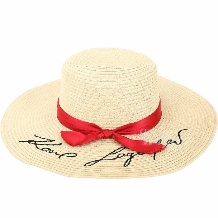 米蘭廣場 KARL LAGERFELD K/Signature 紅色緞帶法式寬簷草編帽 1920720-03