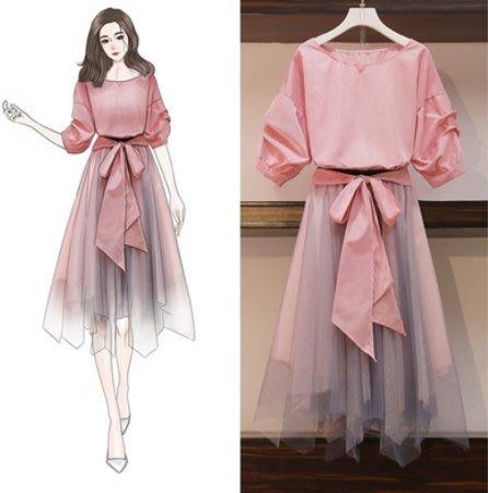套裝 上衣 半身裙 中大尺碼L-4XL新微大碼胖遮肉仙女裙大碼連衣裙顯瘦洋氣兩件套 4F072-6820.