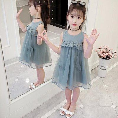 洋裝 連身裙韓版童裝女2019夏中大童連身裙新款 兒童無袖網紗公主仙女裙