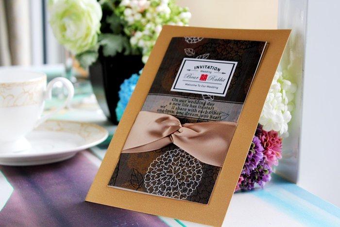『潘朵菈精緻婚卡』影像設計喜帖 ♥ 緞帶20元喜帖系列 ♥ 喜帖編號:W-80115