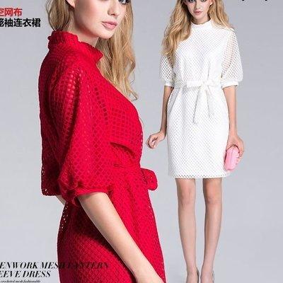 洋裝 #F-055 五分袖簍空設計連身裙款