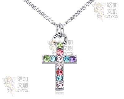 奧地利水晶十字架項鍊 輕巧優雅風格 銅鍍白金 亞馬遜Wish速賣通爆款 售價十一奉獻公益團體