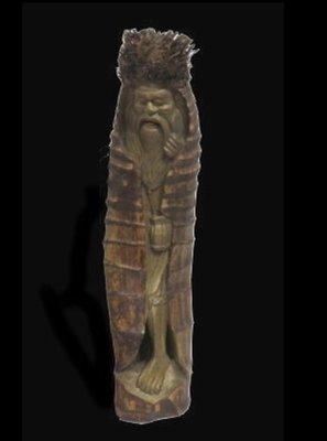 古董壽翁竹雕 百年竹頭雕 大竹雕  長64公分 直徑20x18.5公分
