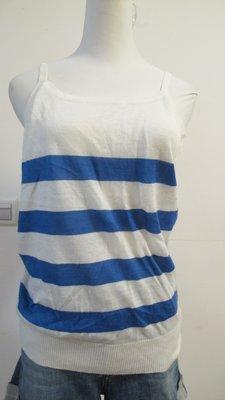 兔麻衣舖 設計師品牌  CIRCLE藍白條紋細肩帶小可愛~~11號