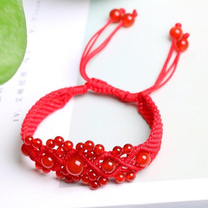 Dream-純手工編織紅繩瑪瑙手鏈招桃花旺夫水晶飾品女款學生簡約手串禮物
