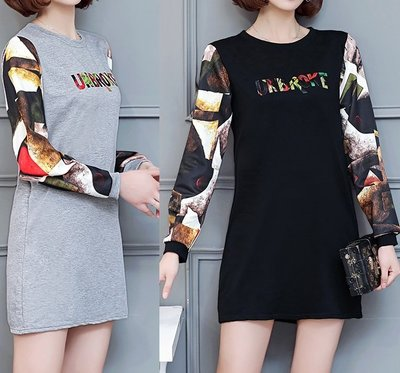 GOGO SHOP☆╭韓系 春季新款字母圓領長袖T恤 長版T恤【Y1428】M~4XL背心另洋裝T恤上衣 大尺碼