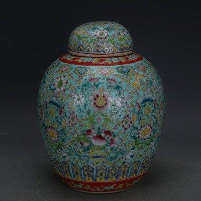 ㊣姥姥的寶藏㊣ 大清乾隆粉彩手繪萬花蓋罐茶葉罐景德鎮廠貨 古瓷器古玩收藏擺件