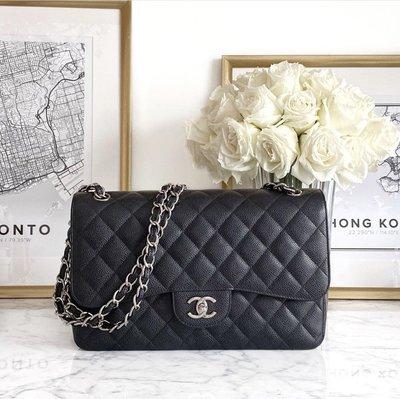 全新現貨 Chanel Jumbo Classic Flap CoCo 30 黑色荔枝皮 銀釦