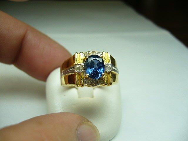 [吉宏精品交流中心]1.48克拉 天然藍寶石 天然鑽石 黃K金 造型 戒指(男戒)