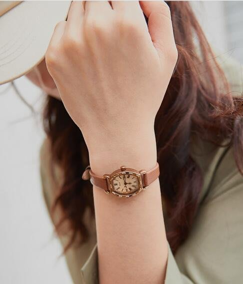 888利是鋪-聚利時手表女學生韓版簡約復古ins風小巧迷你真皮防水小表盤女士#手錶