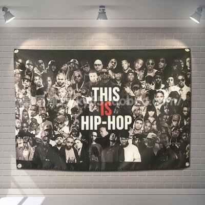 【AMAS】-歐美街頭嘻哈RAP大佬集合HIP HOP掛旗掛布 街舞酒吧自拍背景裝飾  #【標價為最小號售價】