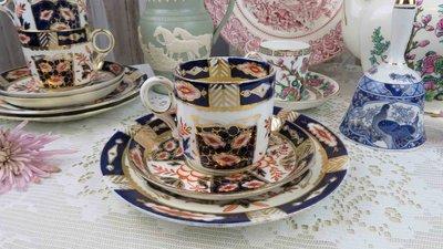 紫丁香歐陸古物雜貨♥英國vintage 伊萬里IMARI手描金花朵下午茶3件式杯盤組.咖啡杯盤組 新北市
