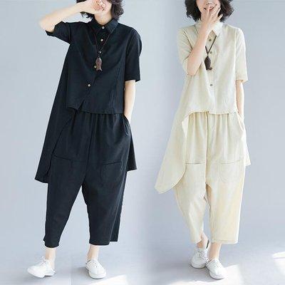 中大尺碼套裝 棉麻套裝女2019春夏新款正韓大尺碼寬鬆不規則上衣 垮褲時尚兩件套