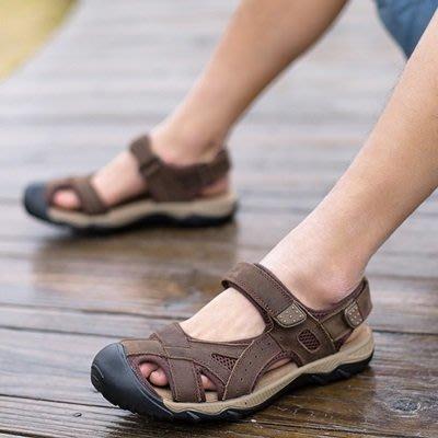 涼 鞋 真皮 拖鞋-涼爽舒適透氣休閒男鞋子3色73mi13[獨家進口][米蘭精品]