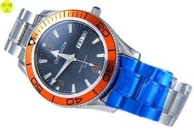 @(六四三精品)@鱷魚(真品)鱷橘霸橘框黑色運動色彩精準錶!外框可轉動簡易計時!
