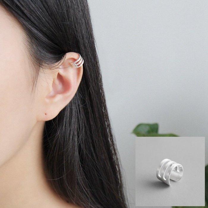 《現貨》925純銀冷淡簡約三層線條拉絲面 耳骨夾耳飾 單只耳環耳針耳夾耳釘 生日情人節 聖誕節 Baonizi