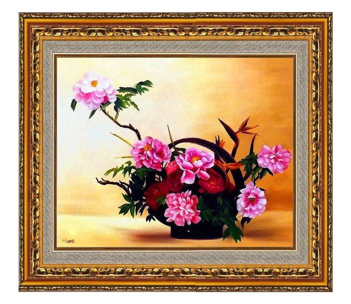 {Art city}手繪創作油畫~錦燦朝霞 牡丹~已完成作品(實品拍攝)含框可直接懸掛