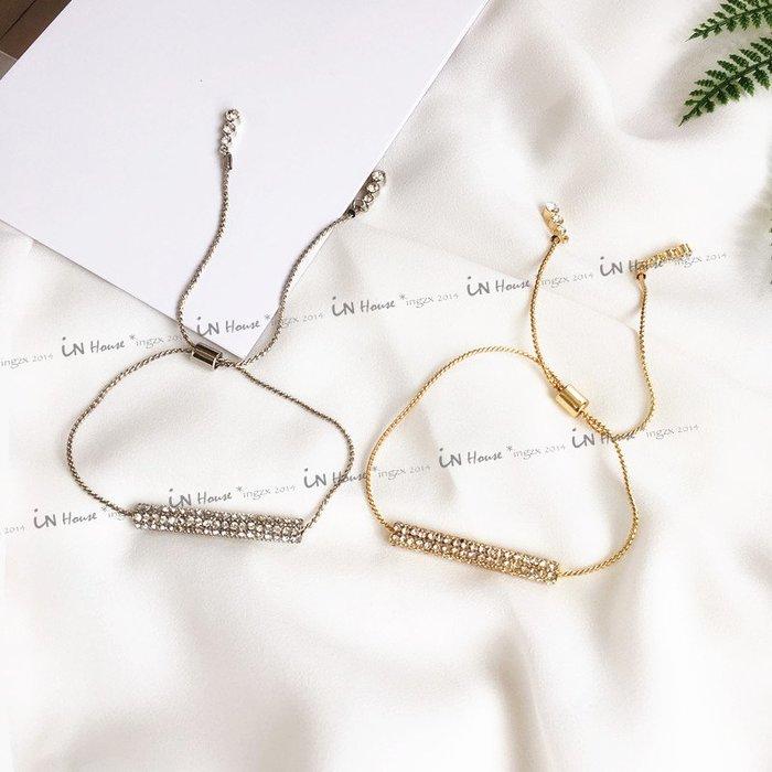 IN House* 出口歐美飾品  秀氣長形 BILING 鑲水鑽 可調式 造型 手鍊 手環 金/銀 2選1 (特價)