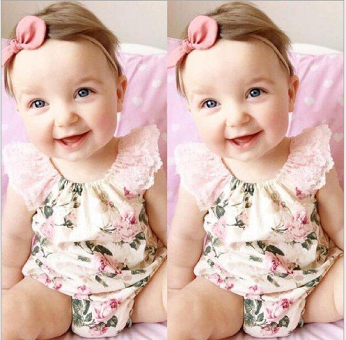 現貨~(版型偏小)INS爆款 夏季歐美嬰童裝 蕾絲寶寶哈衣爬服(米色/淺藍色)