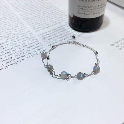 加恩銀月光石雙層手鏈S925純銀鍍鉑金搭配圓珠時尚美麗款送人自留都可以2525