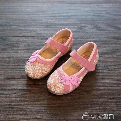 兒童繡花鞋女童民族風亞麻漢服古裝老北京布鞋大童中童學生演出鞋