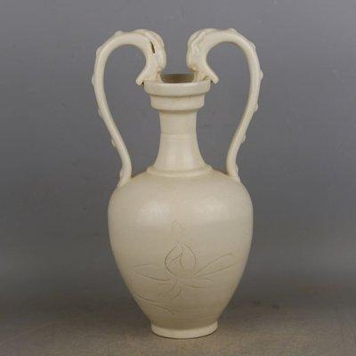 宋代定窯手工刻花雙龍尊瓶  官窯古瓷器古玩古董收藏復古擺件