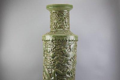 ㊣姥姥的寶藏㊣大清康熙龍泉雕龍大棒槌瓶 古玩 古董