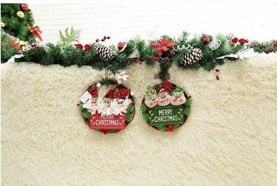 聖誕花環藤條藤圈掛件老人雪人門掛酒店櫥窗裝扮布置聖誕節裝飾品