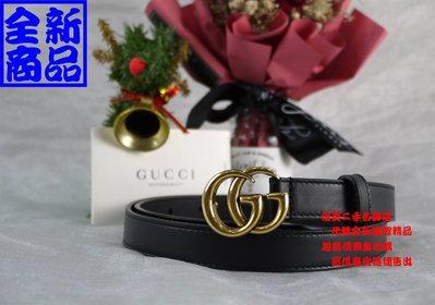 優買二手精品名牌店 GUCCI 409417 黑色 全皮 金釦 GG MARMONT 皮帶 腰帶 32.80 全新