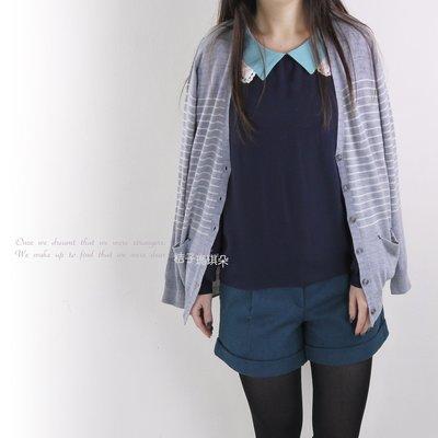 韓國連線 條紋針織薄毛外 ~桔子瑪琪朵