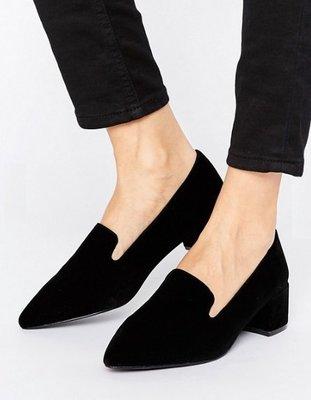 ◎美國代買◎ASOS法式宮廷風尖楦頭粗跟黑色麂皮尖頭高跟鞋~歐美街風~大尺碼