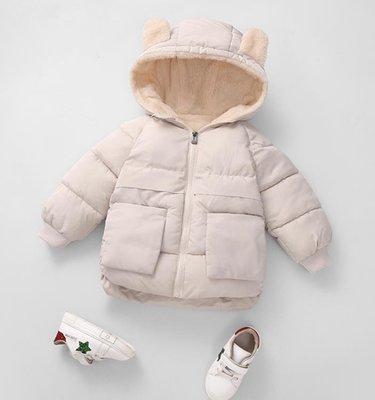 新款兒童純色羽絨棉服男女童寶寶短款加絨加厚棉襖反季連帽外套冬