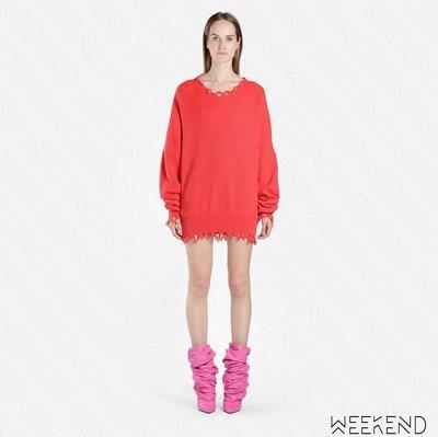 【WEEKEND】 UNRAVEL 針織 破壞 長版 毛衣 上衣 可當洋 紅色 19春夏