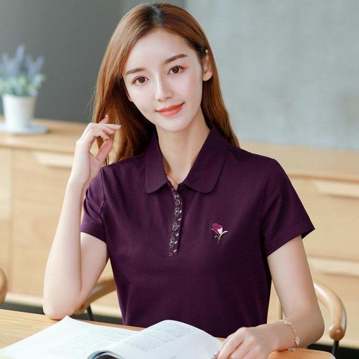 POLO衫純棉t恤女2019夏裝新款韓版寬鬆運動有領上衣純色翻領短袖POLO衫