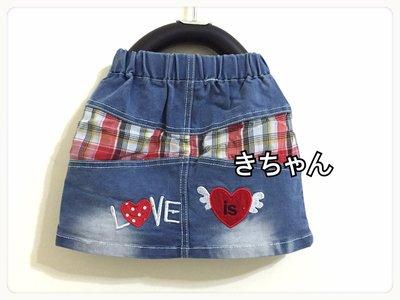 小森童舖 春夏 女童 牛仔x格子拼接 後口袋愛心love 彈性牛仔短裙 5.7.9.11.13.15號