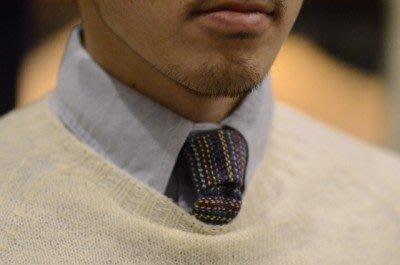 THE HILLSIDE 美國製造 紐約設計 頂級質感手打領帶 復古民族 羊毛料 黑底彩虹條紋點點 窄平版 NATIVE