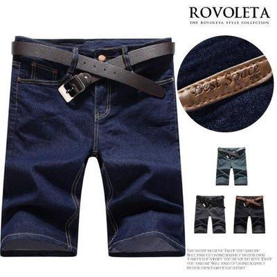 牛仔褲-五分褲後皮標短褲.型男.穿搭.男裝【BS-K3686】(ROVOLETA)