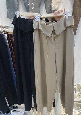 C-Ting簡約韓國. 反摺設計鬆緊帶 修飾寬9分褲/100%韓國空運