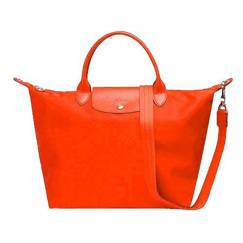 法國 LONGCHAMP 限量款質感尼龍短把手提/斜背兩用水餃包 M號-現貨橘紅色