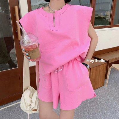 (現貨)韓國純色無袖鬆緊褲頭褲裝t恤短褲