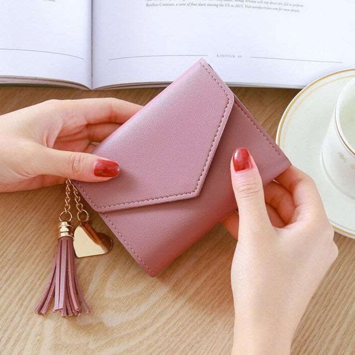 新款時尚小錢包女短款日韓版可愛小清新流蘇迷你學生女士錢包錢夾