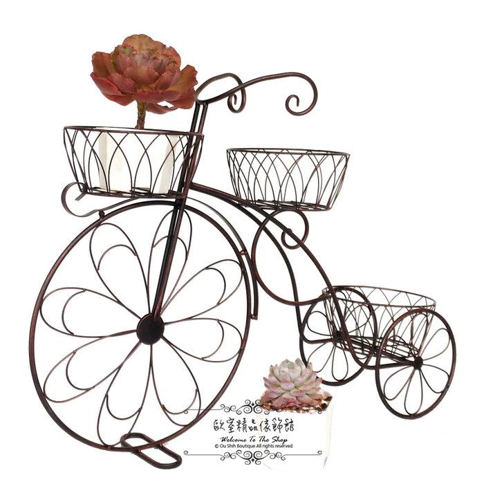 ~*歐室精品傢飾館*~ 鄉村風 鐵製 愛心 古銅色 腳踏車 三輪車 花架 花器 (中) 婚禮布置 庭園 花園~新款上市~
