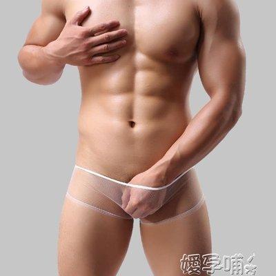 情趣三角褲超薄低腰男士內褲網紗透明平角內褲男平腳四角內褲男情趣GAY內褲