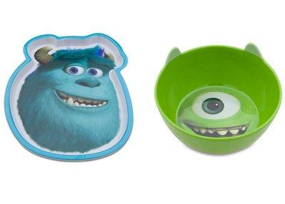 【美國大街】正品.美國迪士尼怪獸電力公司怪獸大學毛怪盤子 + 大眼仔碗 【兒童安全餐具 BPA Free】